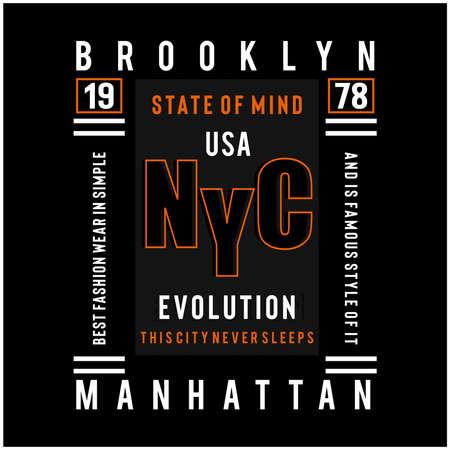 new york city typography design for t shirt - Vector illustration