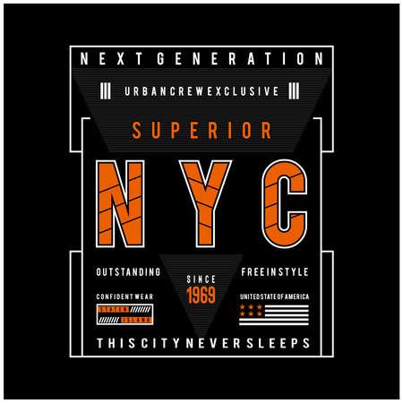 new york city typography design for t shirt print, vector illustration
