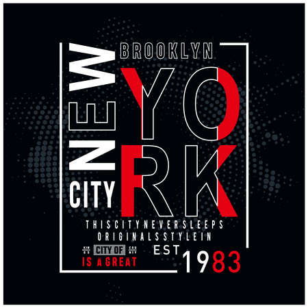 new york city typography design for t shirt, vector illustration