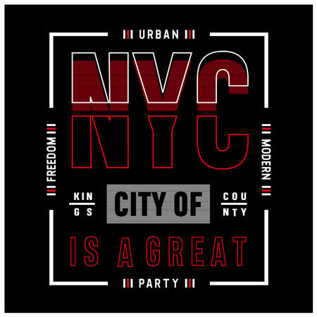 New York City typography for t shirt print, vector illustration Vectores