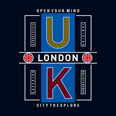 ondon flag and quote vector design tee for t-shirt - Vector illustration