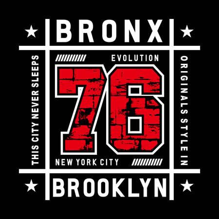 bronx typography vector illustration for t shirt print