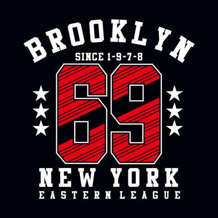 brooklyn sixty nine sport typography t-shirt  graphic - vector