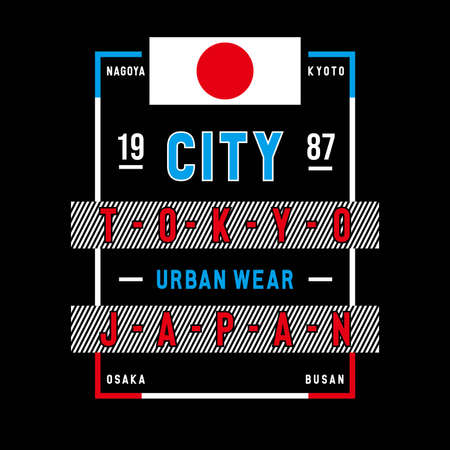 tokyo japan typography design tee, vector illustration concept slogan idea for graphic t shirt - Vector Illustration