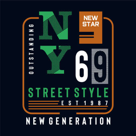 new star street style typography design tee for t shirt print and other uses,vector illustration Ilustração