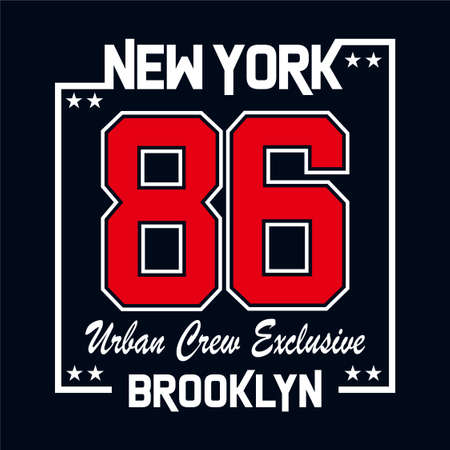 New York  Urban Crew Exclusive typography design for t shirt print and other uses,vector illustration Ilustração