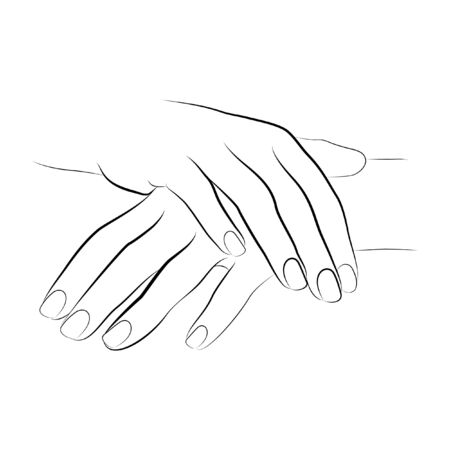 2 hands linework manicure vector isolated on a white background hands vector line drawing icon Illustration