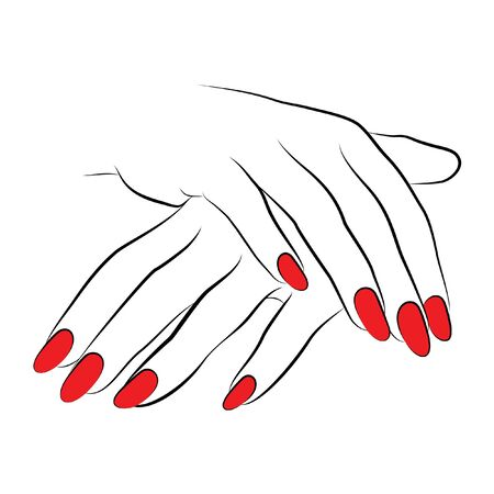 2 hands vector line drawing icon with red nails