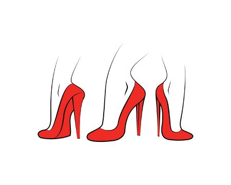 3 red shoes different point of view illustration