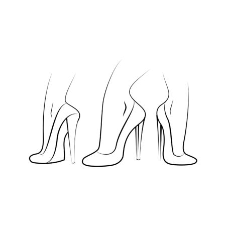 3 line drawing shoes different point of view illustration