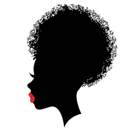 Character design black silhouette with red lips and bun hair stile