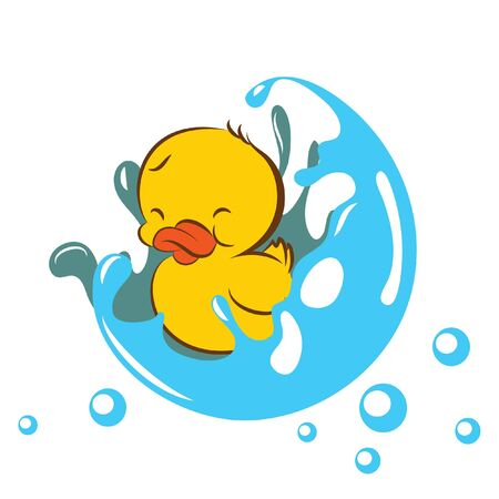 baby duck in splashed bubble Vectores