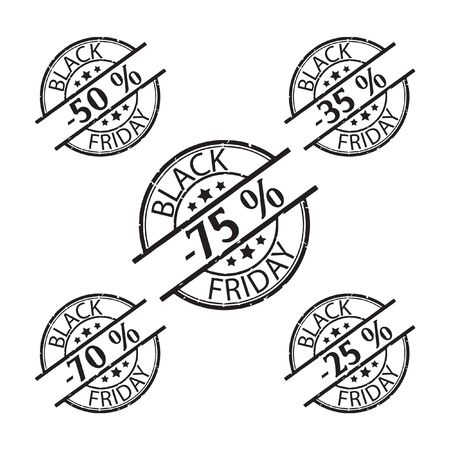 Black Friday rubber stamp icon set percent discounts