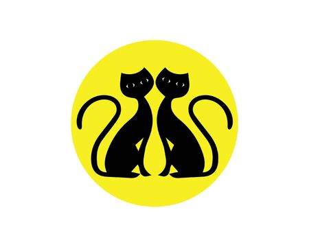 2 cats icon vector logo on yellow circle