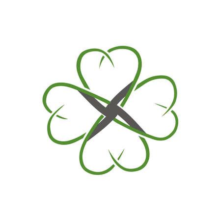 Green shamrock vector icon illustration isolated on white 4 leaves clover