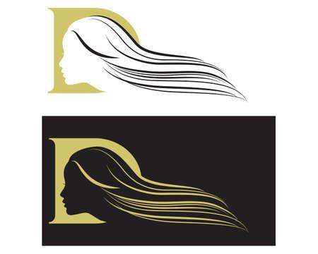 Girl silhouette in D monogram 向量圖像