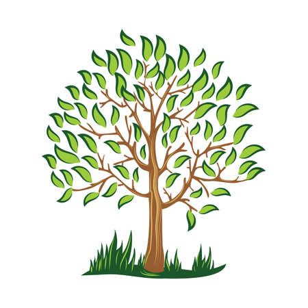 silhouette of green tree with leaves vector Stylized vector logo illustration