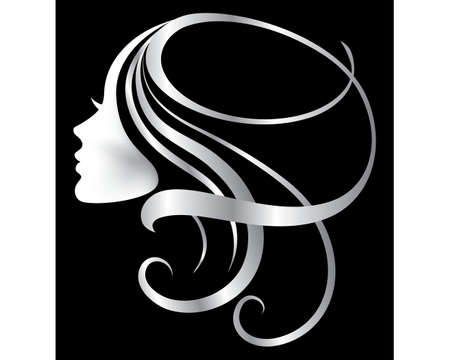 vector illustration of a silver face girl silhouette