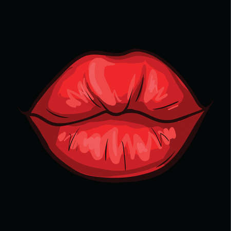 Vector illustration of  sexy red woman lips isolated on black background