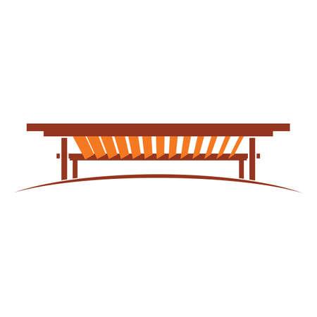 pergola icon design illustration wood colors brown and orange Vecteurs