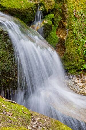 Waterfall, Mountain Forest Footpath, Trek to Annapurna Base Camp, Annapurna Conservation Area, Himalaya, Nepal, Asia Stock Photo