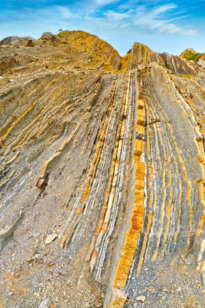 Steeply-tilted Layers of Flysch, Flysch Cliffs, Basque Coast UNESCO Global Geopark, European Geopark Network, Zumaia, Guipúzcoa, Basque Country, Spain, Europe 版權商用圖片
