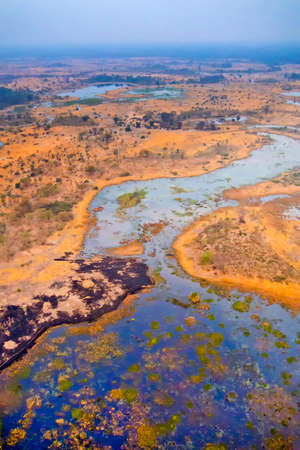 Aerial view, Okavango Wetlands, Okavango Delta, Ramsar Wetland, Botswana, Africa 스톡 콘텐츠