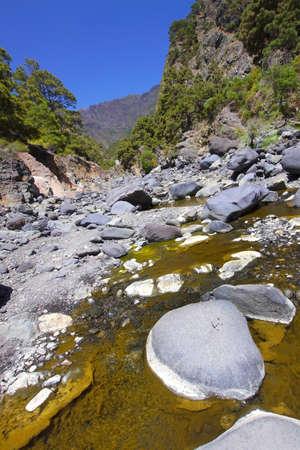 Barranco de las Angustias, Taburiente River, Caldera de Taburiente National Park, Biosphere Reserve, ZEPA, LIC, La Palma, Canary Islands, Spain, Europe 스톡 콘텐츠