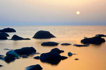 Sea Dawn, Cabo de Gata Nijar Natural Park, Biosphere Reserve, Almeria, Andalucia, Spain, Europe 스톡 콘텐츠