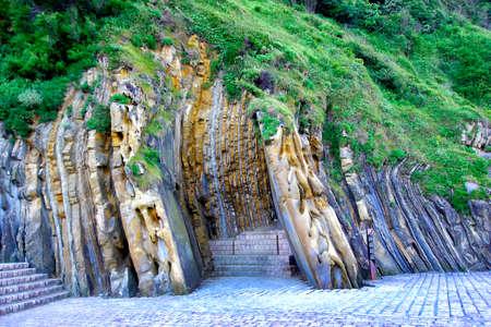 Geological Folds of Rock Layers, La concha, San Sebastian, Guipuzcoa, Basque Country, Spain, Europe