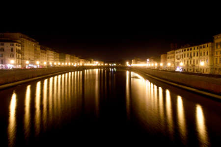 Arno River, Night Stock Photo