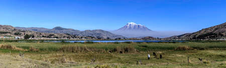 Chimborazo landscape panorama in a sunny day Imagens