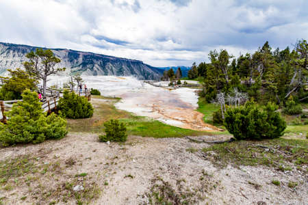 Mamoth hot springs panorama view in Yellowstone National Park 写真素材