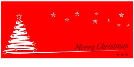 Christmas greeting card with Christmas tree and stars. Illustration