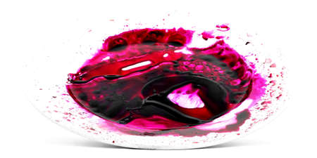 beet juice: Horror red bloody beet juice on white plate, isolated