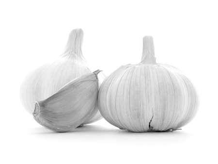 garlic clove: Clean clear garlic clove, two bulbs, isolated on white background