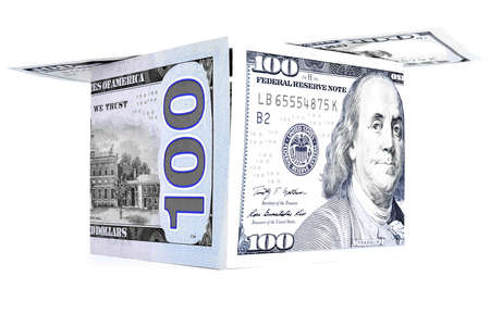 permanence: Blue money shack, dollar cabin, currency hutch banknote house Stock Photo