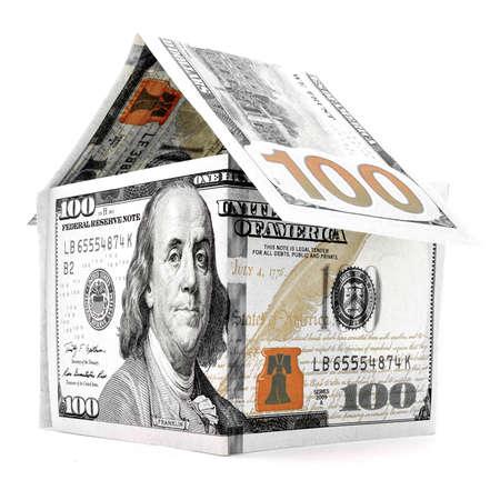 permanence: Orange dollar house, money building, isolated on white background Stock Photo