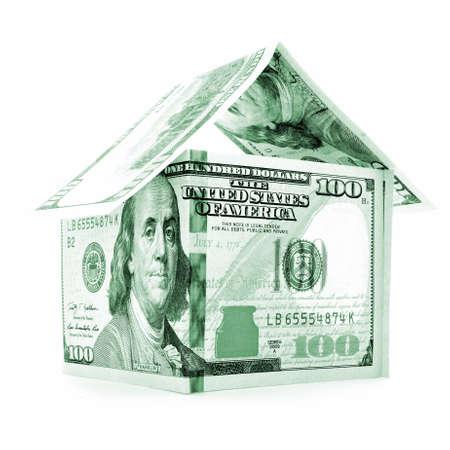 permanence: Green dollar house, money estate, isolated on white background