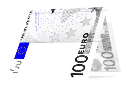 permanence: Blue euro folded in half, money hut, currency angle, isolated Stock Photo
