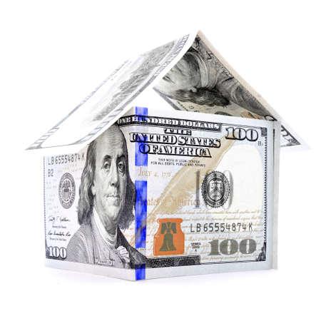 permanence: Blue orange dollar house, money estate, isolated on white background