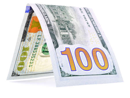 solidity: Native dollar folded in half, money hut, currency angle, isolated Stock Photo