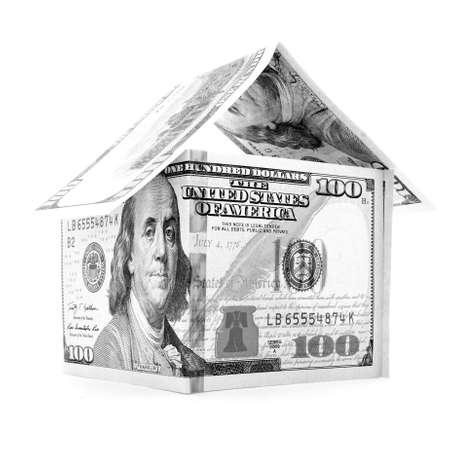 permanence: Black dollar house, money estate, isolated on white background