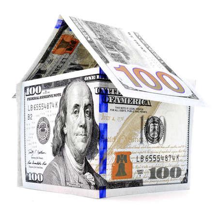permanence: Blue orange dollar house, money building, isolated on white background