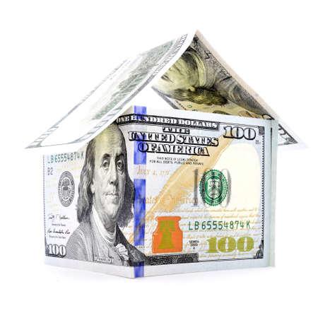 permanence: Native dollar house, money estate, isolated on white background
