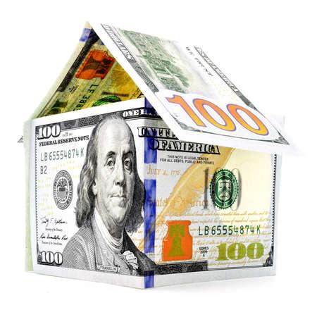 permanence: Native dollar house, money building, isolated on white background