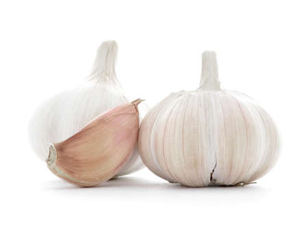 garlic clove: Natural garlic clove, two bulbs, isolated on white background