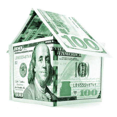permanence: Green dollar house, money building, isolated on white background Stock Photo