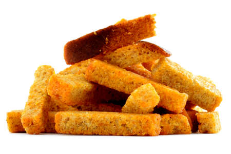 crouton: Rye roasted brown bread, fried crouton, isolated on white background