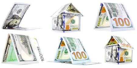 permanence: Native money houses, huts, corner set, isolated on white background Stock Photo
